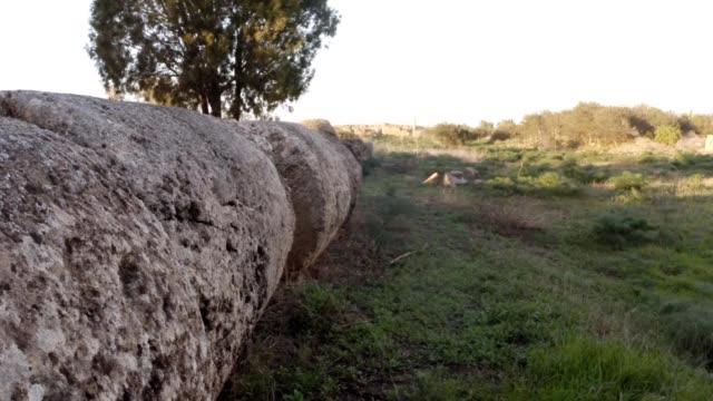 Broken huge column of Temple of Zeus  ruins antique town Salamis east Cyprus Famagusta video
