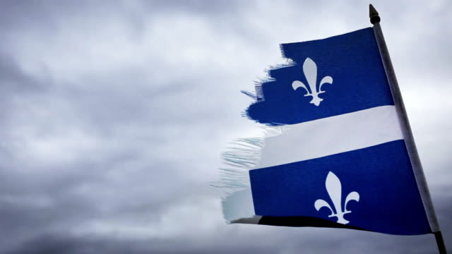 Broken Quebec Flag and a Sad Sky. video