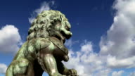 Bronze Guardian Lion Statue in the Forbidden City, Beijing, China video