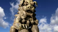 Bronze Guardian Lion Statue in Yonghe Temple (Lama Temple) in Beijing, China video