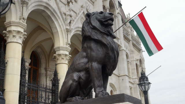 Bronze Lion At The Budapest Hungarian Parliament Building video