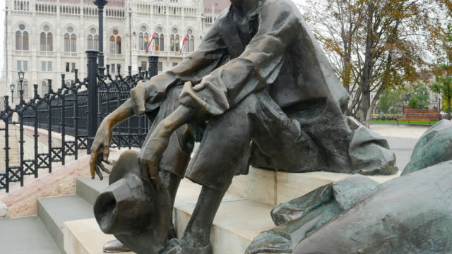 Bronze Statue of Attila József At The Budapest Hungarian Parliament Building video