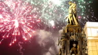 Bronze Statue of Charles IV and holiday fireworks  in Prague, Czech Republic video