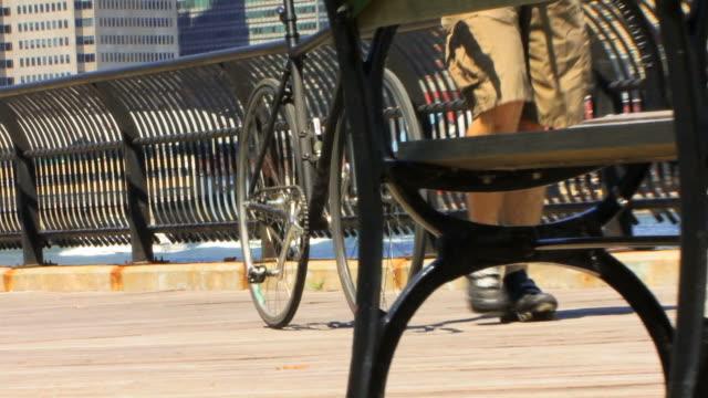 Brooklyn Bridge and Biker HD video