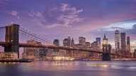 Brooklyn Bridge and Downton NYC with clouds video