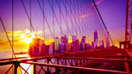 Brooklyn Bridge and Manhattan Evening Skyline video