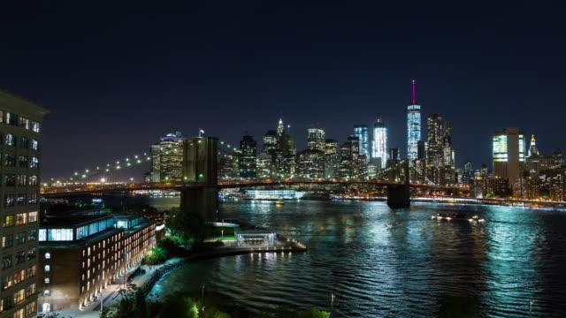 Brooklyn Bridge and Manhattan, New York City at Night Timelapse video