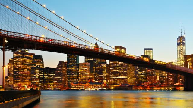 Brooklyn Bridge and Manhattan skyline at night video