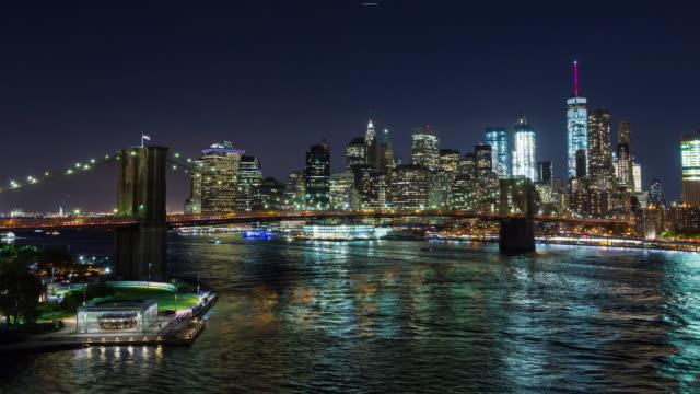 Brooklyn Bridge and Manhattan Skyline New York City Night Timelapse video