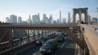 Brooklyn bridge car traffic with New York in the background video