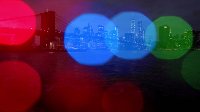 Brooklyn bridge Dusk New York City Christmas lights Color snow video