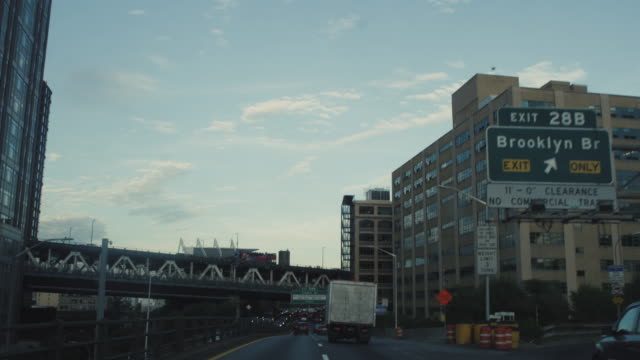 Brooklyn Bridge Exit Sign New York From Highway video