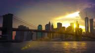 Brooklyn Bridge, freedom tower, and sun rays video