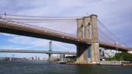 Brooklyn Bridge in Manhattan over Hudson River video