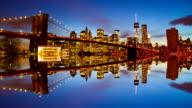Brooklyn Bridge, New York at night video