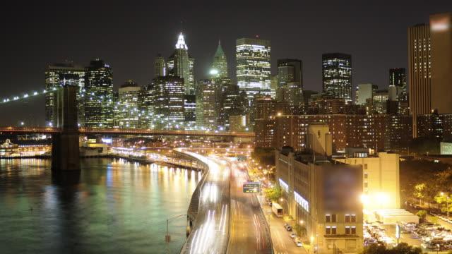 NYC & Brooklyn Bridge -Night Traffic- Timelapse video