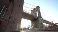 Brooklyn Bridge sunset establishing shot video