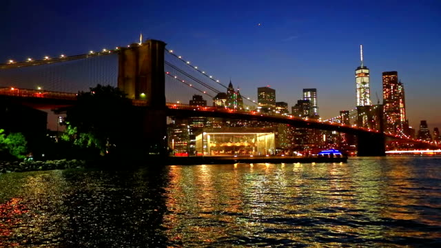 Brooklyn bridge with  Freedom tower in background video