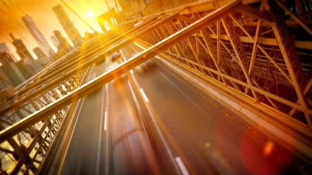 Brooklyn bridge with New York City Manhattan downtown video