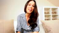 Brunette Female Using Online Internet Web-chat video
