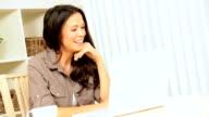 Brunette Girl Using Laptop for Online Internet Webchat video