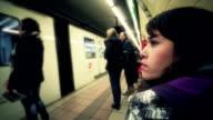 Brunette waiting the metro video