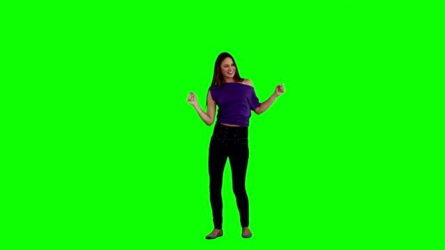 brunette woman is dancing video