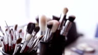 Brush and eye shadow makeup tools video