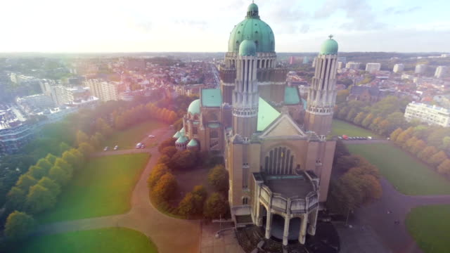 Brussels aerial beautiful national symbol Basilica in Belgium capital, travel tourist attraction sight seeing place, famous religious building cultural monument, European Union landmark fly over video