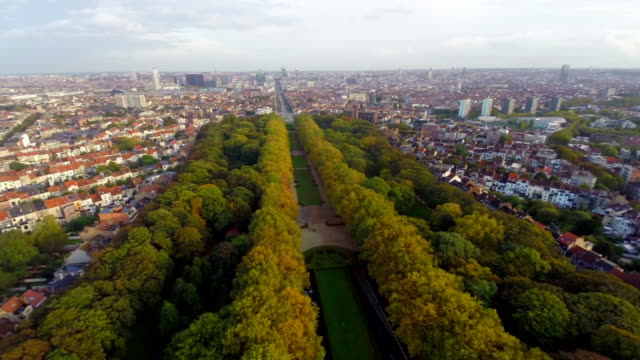 Brussels beautiful city landscape from above, aerial streets. Beautiful aerial shot above Europe, culture and landscapes, camera pan dolly in the air. Drone flying above European land. Traveling sightseeing, tourist views of Belgium. video