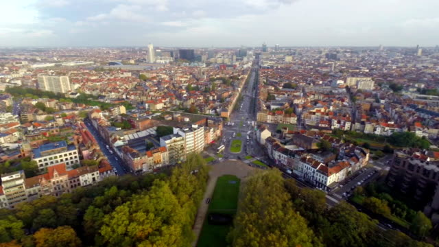 Brussels beautiful traffic city view, streets buildings aerial. Beautiful aerial shot above Europe, culture and landscapes, camera pan dolly in the air. Drone flying above European land. Traveling sightseeing, tourist views of Belgium. video