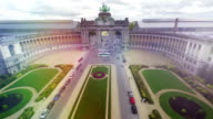 Brussels city park from above, Belgium capital famous monument with horses aerial, European city air shot with tourist buses, travel sight seeing place, arches and columns, historical architecture video