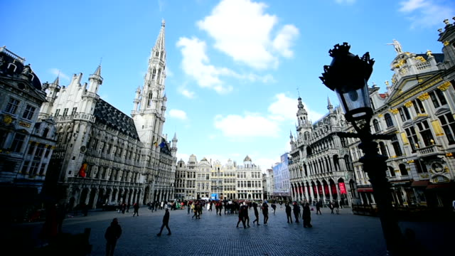 Brussels Grand Place with tourists video
