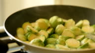 Brussels sprouts with bacon in frying-pan video