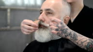 brutal barber clipper mows bearded adult senior hipster video