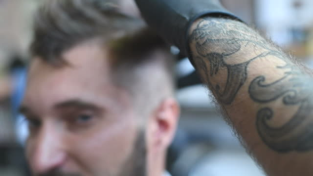 brutal barber scissors mows bearded hipster video