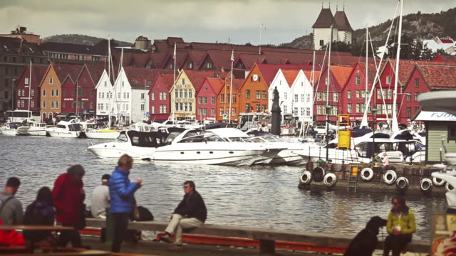 Bryggen old town in Bergen: view from the harbor video