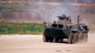 Btr moving on a dirt road on military exercises video
