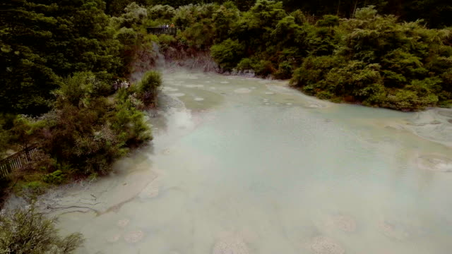 Bubbling Hot Mud Pool in Rotorua, New Zealand from Aerial View by Drone video
