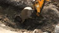 Bucket of excavator in motion. video