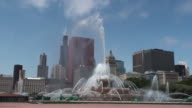Buckingham Fountain with Chicago Skyline in background video