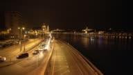 Budapest At Night Viewed From Idősebb Antall József Rakpart Road video