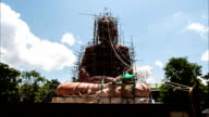 Buddha statue construction,Timelapse clouds video