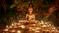 Buddha statue with light the candles under Bodhi tree, Chiang Mai,Thailand . Seamless looping . video