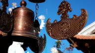 Buddhist bells fluttering in the wind video