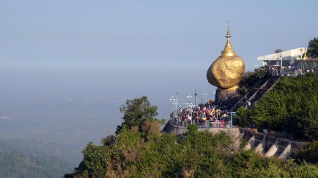 Buddhist Devotees at Kyaiktiyo Pagoda aka Golden Rock, Mon State, Myanmar (Burma) video