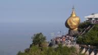 Buddhist Devotees at Kyaiktiyo Pagoda aka Golden Rock, Mon State, Myanmar video