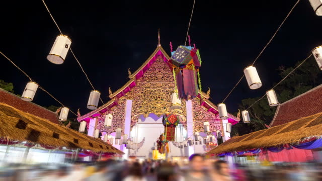 Buddhist Festival at The Wat Si Khom Kham Temple,Hyperlapse video