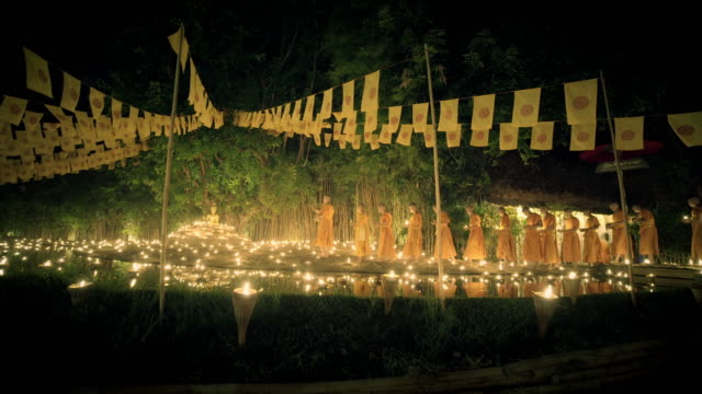Buddhist monks at Wat Pan Tao in Chiang Mai, Thailand video