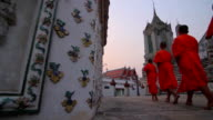 Buddhist Monks Walking To A Temple (DollyShot) video